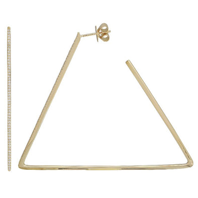 14k Yellow Gold Triangle Diamond Hoop Earrings