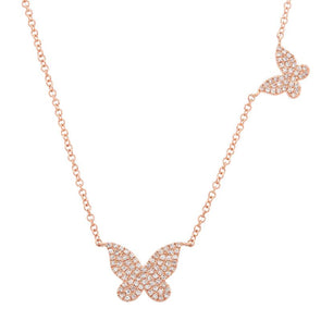 14K Rose Gold Double Butterfly Diamond Necklace