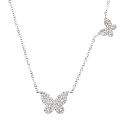 14K White Gold Double Butterfly Diamond Necklace