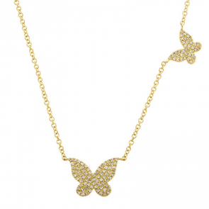 14K Yellow Gold Double Butterfly Diamond Necklace