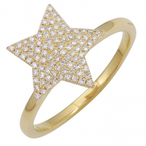 14K Yellow Gold Diamond Pave Star Ring