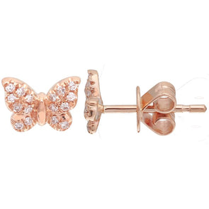14K Rose Gold Mini Butterfly Diamond Earrings