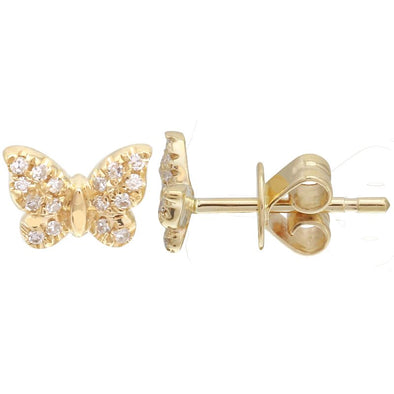 14K Yellow Gold Mini Butterfly Diamond Earrings