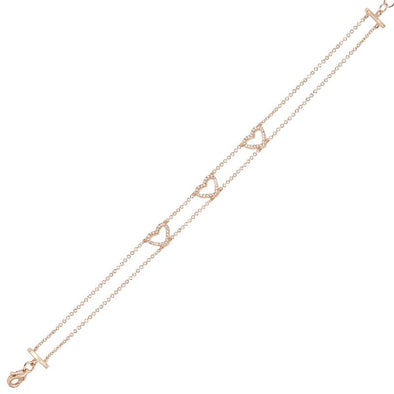 14K Rose Gold Triple Open Diamond Heart Bracelet