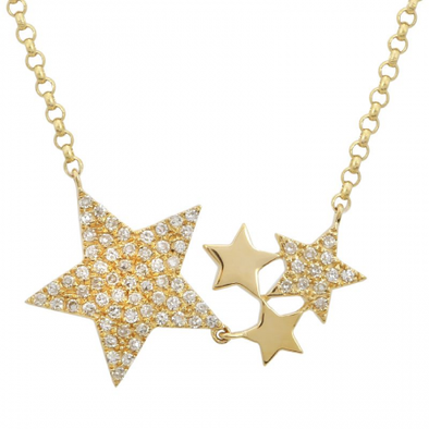 14K Yellow Gold Diamond Star Constellation Necklace