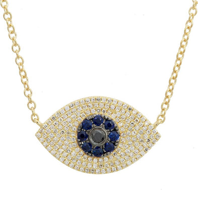 14K Yellow Gold Diamond+Sapphire Evil Eye Necklace