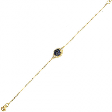 14K Yellow Gold Diamond + Blue Sapphire Evil Eye Bracelet
