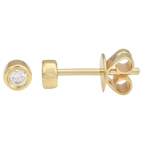 14K Yellow Gold Bezel Set Diamond Earrings