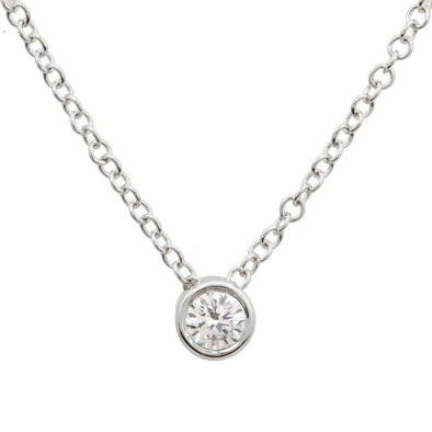 14K White Gold Bezeled Diamond Necklace