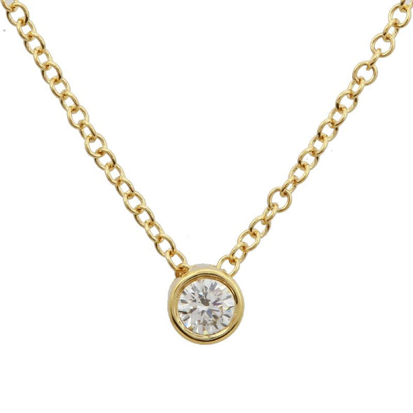 14k Yellow Gold Bezeled Diamond Necklace