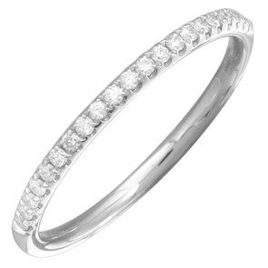 14K White Gold Diamond Halfway Band