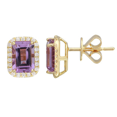 14k Yellow Amethyst Emerald Cut Gemstone Earrings