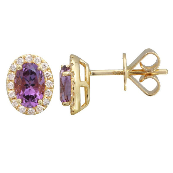 14k Yellow Gold Amethyst & Diamond Oval Gemstone Earrings