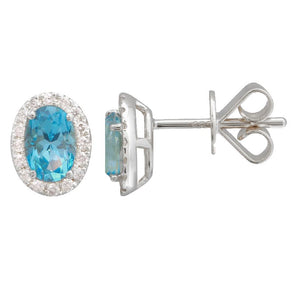 14k White Gold London Blue Topaz & Diamond Oval Gemstone Earrings