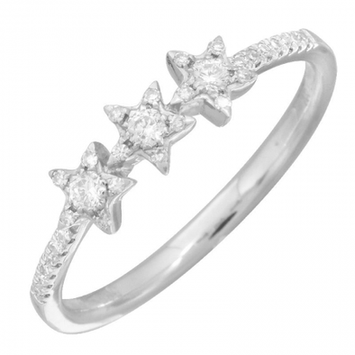 14K White Gold Diamond Triple Star Ring