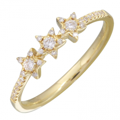 14K Yellow Gold Diamond Triple Star Ring