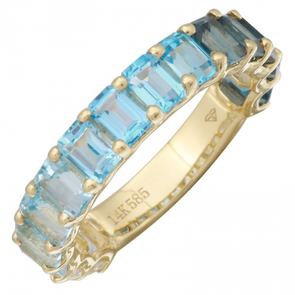 14K Yellow Gold Blue Topaz + White Topaz 3/4 Ombre Ring (SMALL)