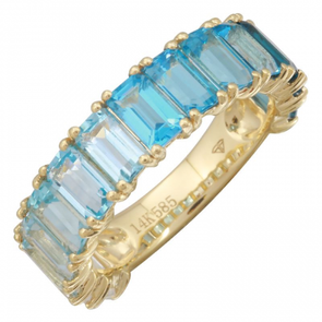 14K Yellow Gold Blue Topaz + White Topaz 3/4 Ombre Ring (LARGE)