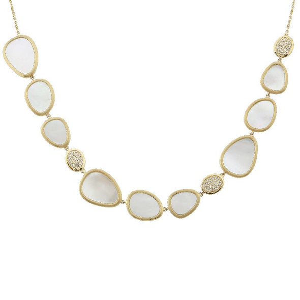 14k Yellow Gold DIamond & Mother of PearlNecklace