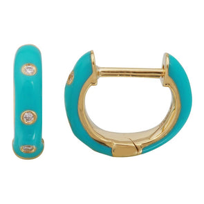 14k Yellow Gold Turqouise Enamel & Diamond Huggie Earrings
