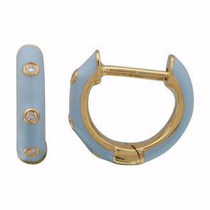 14k Yellow Gold Cerulean Enamel & Diamond Huggie Earrings