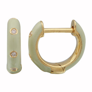 14k Yellow Gold Cool Grey Enamel & Diamond Huggie Earrings
