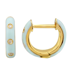 14k Yellow Gold Mint Enamel & Diamond Huggie Earrings