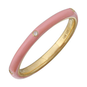 14k Yellow Gold Warm Blush Enamel & Diamond Ring