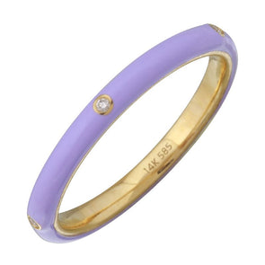 14k Yellow Gold Lavender Enamel & Diamond Ring