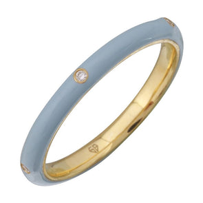 14k Yellow Gold Grey Enamel & Diamond Ring