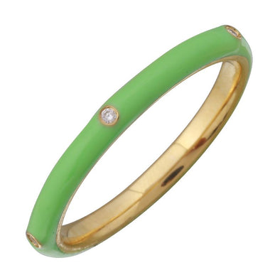 14k Yellow Gold Mint Green Enamel & Diamond Ring