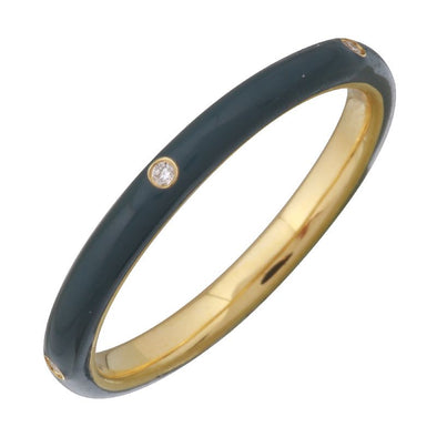 Yellow Gold Dusk Enamel & Diamond Ring