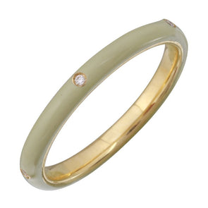 14k Yellow Cool Grey Enamel & Diamond Ring