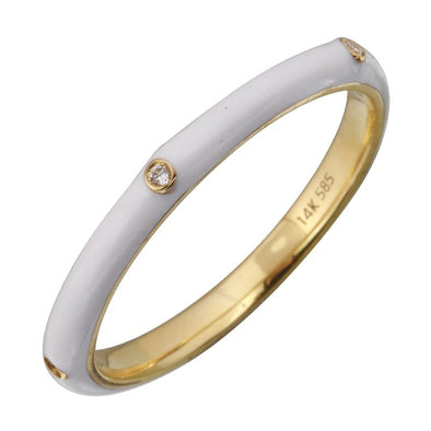14k Yellow White Enamel & Diamond Ring