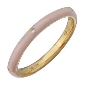 14k Yellow Blush Enamel & Diamond Ring