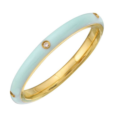 14k Yellow Mint Enamel & Diamond Ring