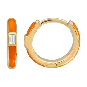 14K Yellow Gold Orange Enamel & Diamond Huggie Earrings
