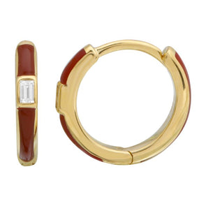 14k Yellow Gold Vamp Enamel & Diamond Huggie Earrings