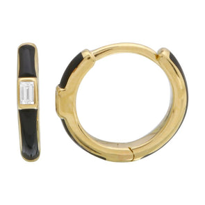14k Yellow Gold Black Enamel & Diamond Huggie Earrings