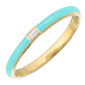 14k Yellow Gold Turqouise Enamel & Diamond Ring