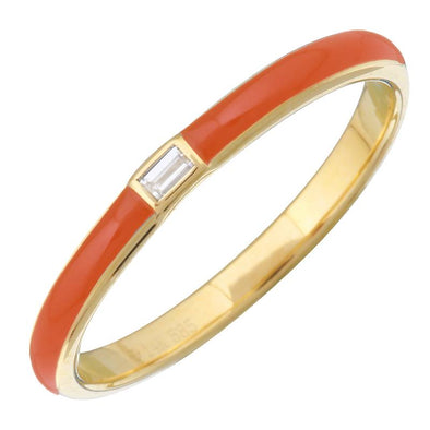 14k Yellow Gold Orange Enamel & Diamond Ring