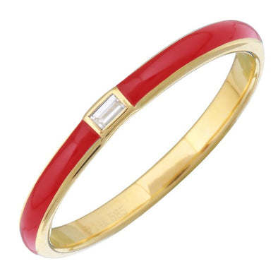 14k Yellow Gold Red Enamel & Diamond Ring