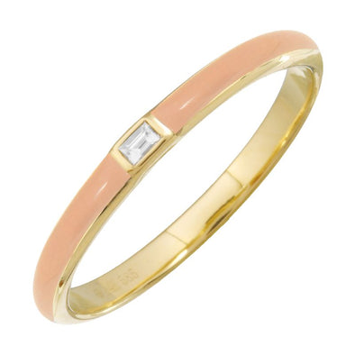 14k Yellow Gold Blush Enamel & Diamond Ring
