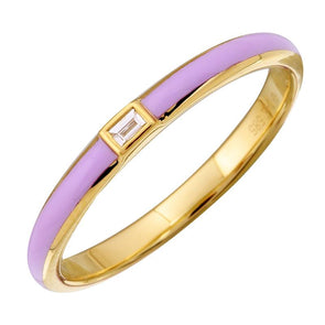 14k Yellow Gold Lavendar Enamel & Diamond Ring