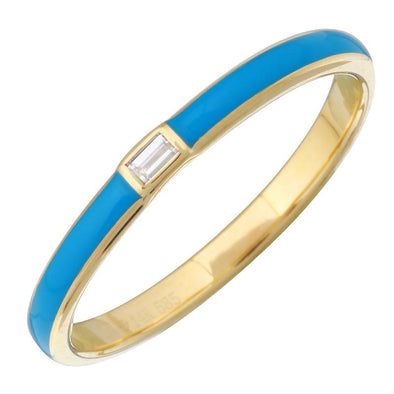 14k Yellow Gold Blue Enamel & Diamond Ring
