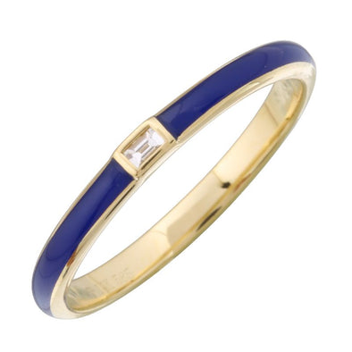 14k Yellow Gold Classic Blue Enamel & Diamond Ring