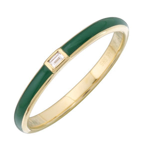 14k Yellow Gold Green Enamel & Diamond Ring