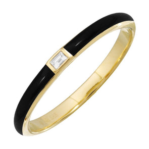 14k Yellow Gold Black Enamel & Diamond Ring
