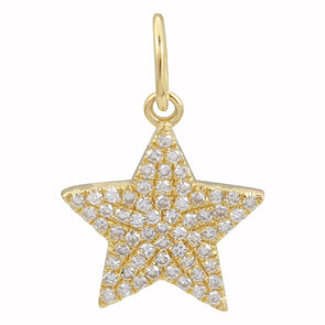 14K Yellow Gold Star Diamond Necklace Charm