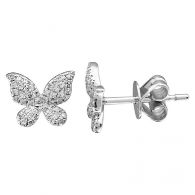 14K White Gold Diamond Pave Butterfly Stud Earrings